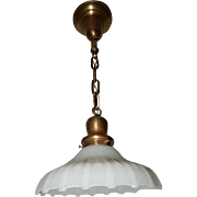 Industrial White Thin Ribbed Milk Glass Shade on Simple Brass Pendant fixture