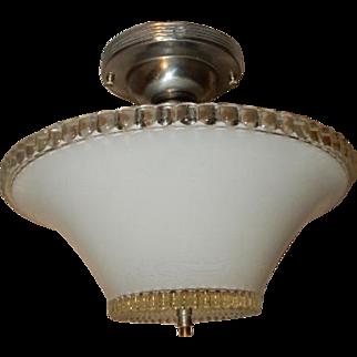 Art Deco Flush Mount Ceiling Light Fixture w Original White Beaded Shade
