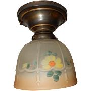 Colorful Glass Shade in Simple Brass Ceiling fixture