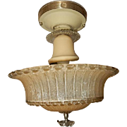 Art Deco Flush Mount Ceiling Light Fixture w Original Tan Beaded Shade