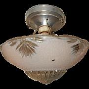 Art Deco Flush Mount Ceiling Light Fixture w Original Pink Shade