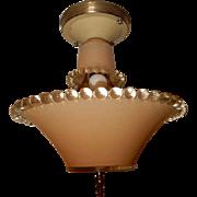 Art Deco Flush Mount Ceiling Light Fixture w Original Pink Beaded Shade