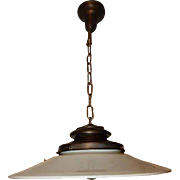 Ca. 1915 LARGE Industrial Fixture Brass Pendant Milk Glass Shade