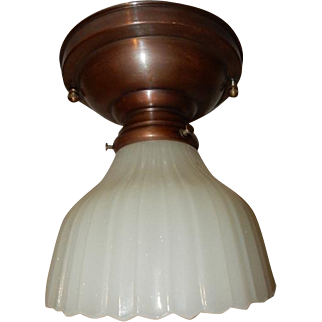 Simple Arts & Crafts Brass Ceiling fixture  w/ White Thin Ribbed Milk Glass Shade