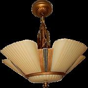 1930s Art Deco Six Shade Chandelier