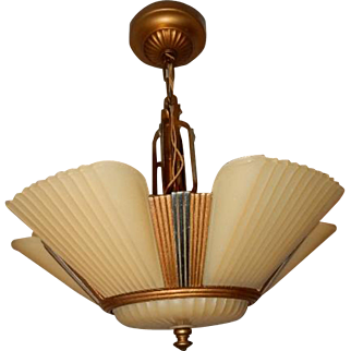 1930s Art Deco Six Shade Chandelier