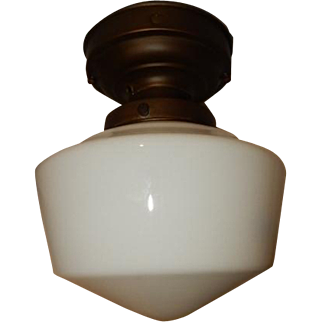 Simple Milk Glass school House Shade on Original Brass Fixture