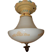 Neo-Classical Shade w Cast Iron & Brass Flush Mount Ceiling Light Fixture Combination