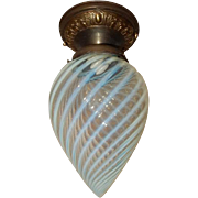 Nouveau Embossd Brass Ceiling Light with Opalescent Swirl Glass Torpedo Shade
