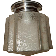 Nickel Plated Fixture with Art Deco Chipped Ice Ribbed Shade----------Low Profile Fixture
