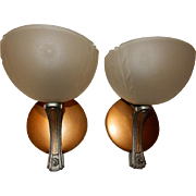 Pr. Circa 1930's Vintage Frosted Shade Wall Sconces Original Antique Clip in Style Shades on Fixtures
