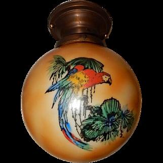 Brass Flush Mount Light Fixture w Decorated Glass Ball Shade - Parrots