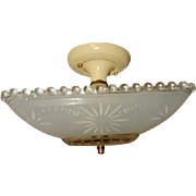 Art Deco Flush Mount Ceiling Light Fixture w Original Frosted Starburst Shade