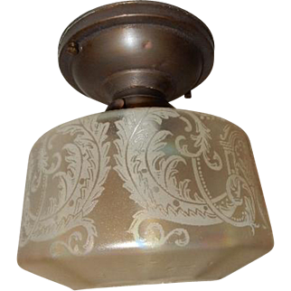 Art Nouveau Ceiling Light - Simple Brass Fixture with Iridescent Acid Etched Shade