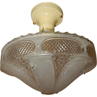 Art Deco Flush Mount Ceiling Light Fixture w Original Frosted & Clear Pressed Shade
