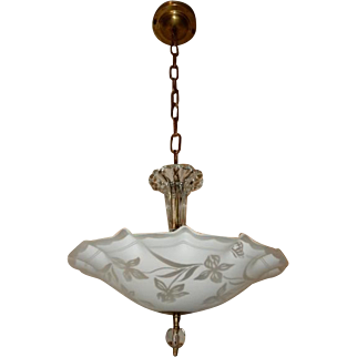 Art Deco Hanging Ceiling Light Pendant Fixture w Original Satin Frosted Floral & Butterfly Shade
