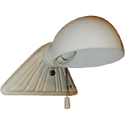 White Porcelain Sconce with Vintage Milk glass shade