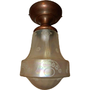 Iridescent Acid-etched Shade on Brass Flush Mount Ceiling Light Fixture