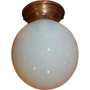 Simple Arts & Crafts Ceiling Light Fixture w Opalescent Glass Shade