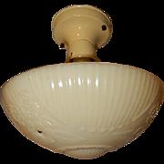 Lightolier Custard Glass Ceiling Fixture Old Navajo White Deco Fixture