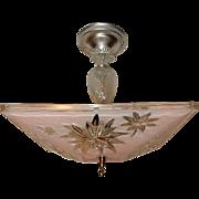 Mid-century Pink Glass Square Art Deco Light Fixture Ceiling Chandelier Pendant