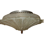 Art Deco Flush Mount Ceiling Light Fixture w Original Art Deco Sunflower Shade