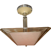 Art Deco Mid Century Ceiling Light Fixture w Original Pink Thin Ribbed Shade