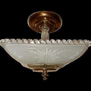 Art Deco Flush Mount Ceiling Light Fixture w Original Frosted Starburst Shade