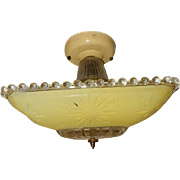 Art Deco Flush Mount Ceiling Light Fixture w Original Chartreuse Starburst Shade