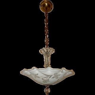 Art Deco Hanging Pendant Fixture w Original Satin Floral & Butterfly Shade