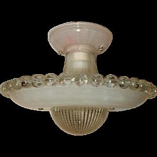 Art Deco Flush Mount Ceiling Light Fixture w Orig. 2-Piece Flying Saucer Shade