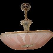 Art Deco Pendant Ceiling Light Fixture w Original Art Deco PINK Sunflower Shade
