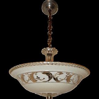 Tan Glass Floral Pattern Art Deco Light Fixture Ceiling Chandelier