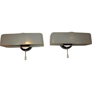 Art Deco Mid Century 2 Bulb Chrome Bath Fixture Milk Glass Shade-------- Pr. Avail.