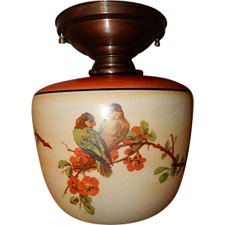 Red Top Parrot Shade Original Bronze Colored Ceiling Vintage Lighting Fixture.