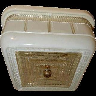 Art Deco White Square Glass Flush Light Fixture Ceiling Chandelier Ca. 1940s-----Porcelier Fixture