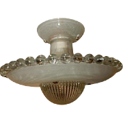 Art Deco Flush Mount Ceiling Light Fixture w Orig. 2-Piece Flying Saucer Shade