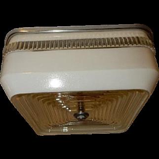 Art Deco White Square Glass Flush Light Fixture Ceiling Chandelier Ca. 1940s