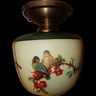 Dark Green Top Parrot Shade Original Bronze Colored Ceiling Vintage Lighting Fixture.