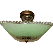 Art Deco Flush Mount Ceiling Light Fixture w Original  Jadeite Green Shade