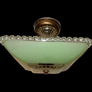 Art Deco Flush Mount Ceiling Light Fixture w Original  Jadeite Green Shade