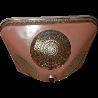 Art Deco Pink Square Glass Flush Light Fixture Ceiling Chandelier Ca. 1940s