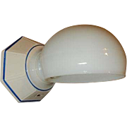 Art Deco Blue Stenciled Porcelain Wall Sconce with Ribbed Pattern Shade