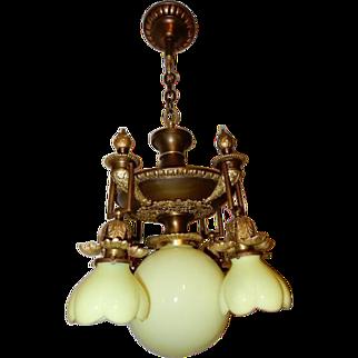 5 Light Cast Bronze Art Nouveau Chandelier Acid Etched Shades
