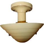 Mid Century Art Deco Custard Glass Ceiling Fixture-------Lightolier