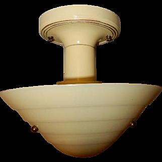 Mid Century Art Deco Custard Glass Ceiling Fixture-------Lightolier