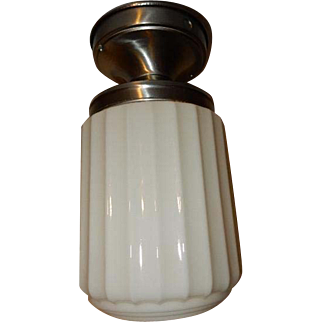 Art Deco Polished Aluminum Fixture with Milk Glass Ribbed Shade