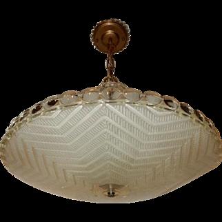 Frosted Glass Herringbone Art Deco Light Fixture Ceiling Chandelier