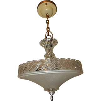 Art Deco Hanging Pendant Fixture w Original Frosted Thin Ribbed & Crystal Shade