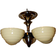 Art Deco 5 Light Cast Iron Ceiling Fixture 1930's-----------Lightolier